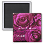 MAGENTA  Wedding Rose Bouquet with Lace Refrigerator Magnet