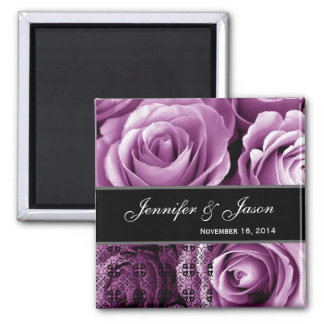 Magenta Wedding Rose Bouquet with Lace Magnet