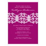 Magenta  & White Damask Bridal Shower Invitation
