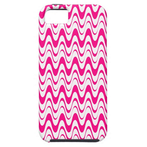 Magenta & White Waves Pattern iPhone 5 Case