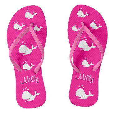 Beach Themed Magenta White Whale 4Jennifer Flip Flops