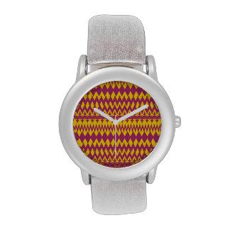 Magenta y diseño tribal del modelo de la mostaza reloj de mano
