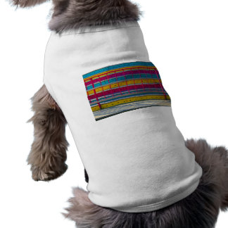 magenta yellow blue steps carnival ride abstract doggie shirt