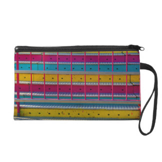 magenta yellow blue steps carnival ride abstract wristlet