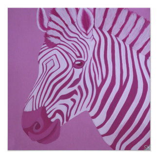 Magenta Zebra Invitation