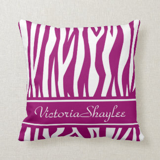 Magenta Zebra Print with custom text Throw Pillow