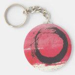 Magenta Zen Circle Basic Round Button Keychain