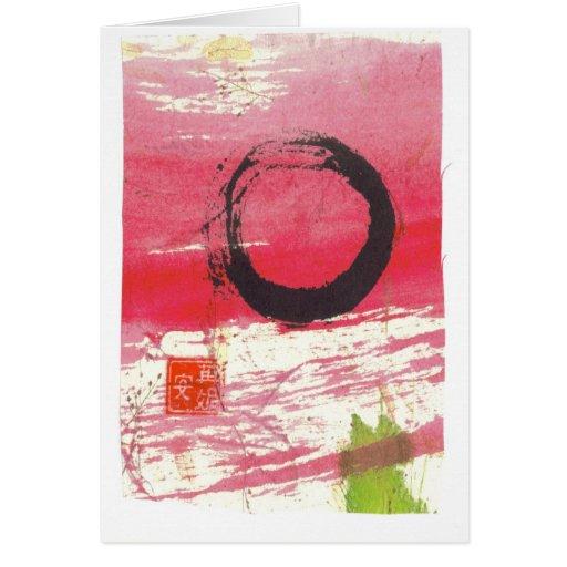 Magenta Zen Circle Greeting Cards