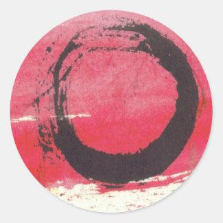 Magenta Zen Circle Round Stickers