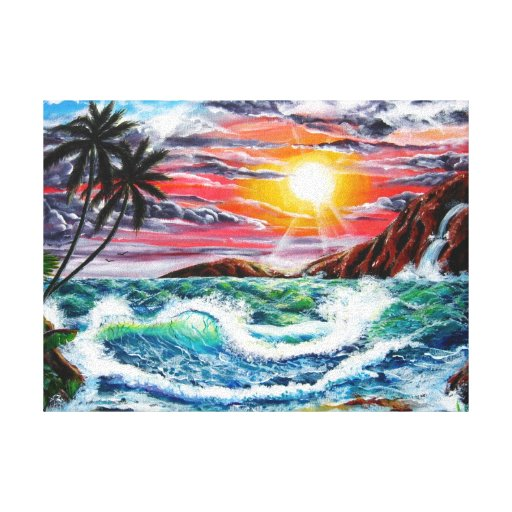 Magestic Sunset - Seascape by Galina Canvas Print