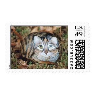 """Maggie"" cat rock stamp"
