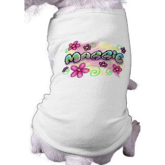 Maggie - letras Airbrushed de la burbuja - flores  Playera Sin Mangas Para Perro