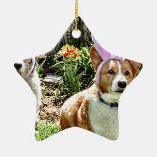 Maggie y tirada adorno navideño de cerámica en forma de estrella