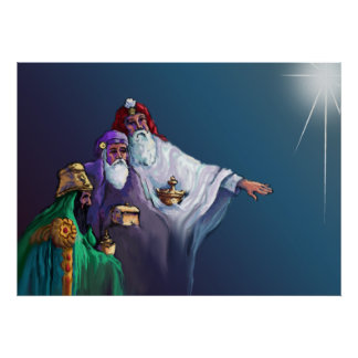 MAGI KINGS 3 WISEMEN & STAR by SHARON SHARPE Poster
