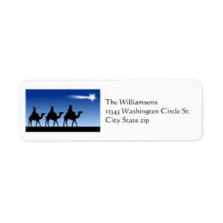 Magi Three Wise Men and Bright Christmas Star Label