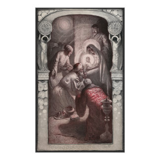 Magi Visiting Christ with Gifts Posters