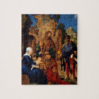 Magi Worship Baby Jesus Jigsaw Puzzle