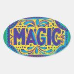 Magia azul pegatina ovalada