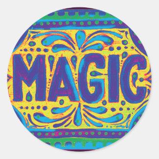 Magia azul pegatina redonda