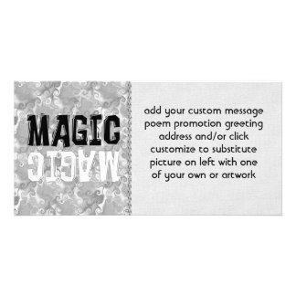 Magia blanco y negro tarjeta fotográfica