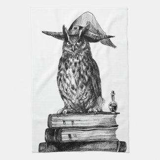 Magia de Halloween del búho de la brujería Toallas De Cocina