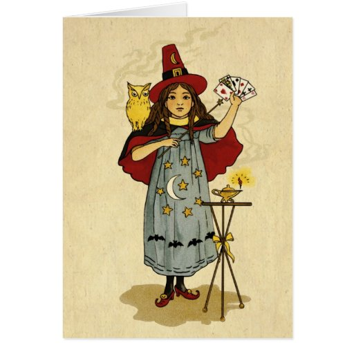 Magia de Halloween del vintage Tarjeta