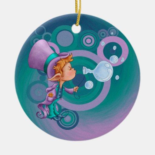 Magia de la burbuja adorno navideño redondo de cerámica