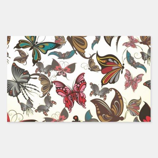Magia de la mariposa pegatina rectangular