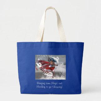 Magia de la travesura del invierno bolsa de tela grande