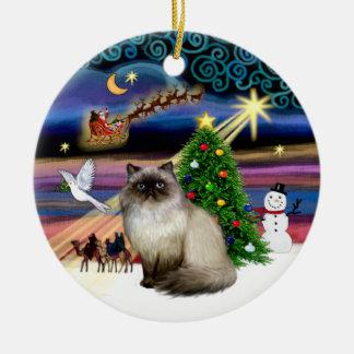 Magia de Navidad - 7 Himalayan (punto del sello) Adorno Redondo De Cerámica