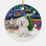 Magia de Navidad - Bichon Frise #7 Ornamento Para Arbol De Navidad