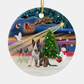 Magia de Navidad - bull terrier (brindle-white0 Adorno Para Reyes