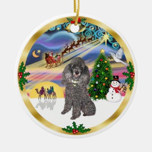 Magia de Navidad - caniche de juguete de plata Ornaments Para Arbol De Navidad