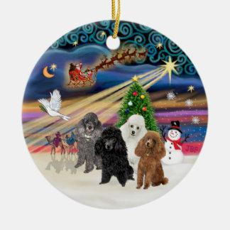Magia de Navidad - caniches JUGUETE CUATRO Ornamentos De Reyes