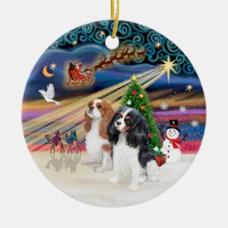 Magia de Navidad - Cavaliers (dos-Blen-Tri) Adorno Redondo De Cerámica