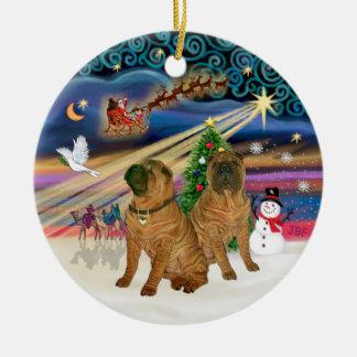Magia de Navidad - chino Shar Pei DOS Ornamentos Para Reyes Magos