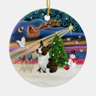 Magia de Navidad - Corgi Galés (rebeca) Adorno Navideño Redondo De Cerámica