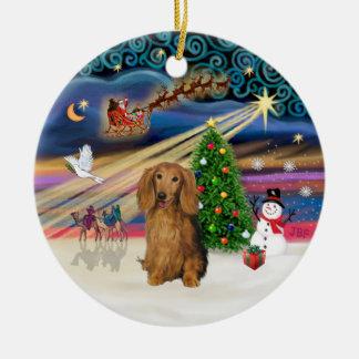 Magia de Navidad - Dachshund (Sable cabelludo de Adorno Redondo De Cerámica