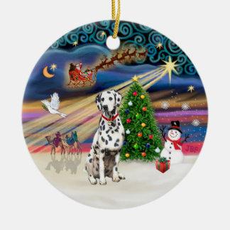 Magia de Navidad - Dalmatian Adorno Redondo De Cerámica