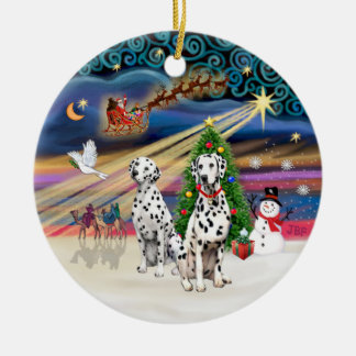 Magia de Navidad - Dalmatians (dos) Adorno Redondo De Cerámica