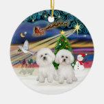 Magia de Navidad - dos Bichon Frise Adorno De Reyes