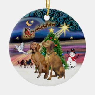 Magia de Navidad - dos Vizslas Ornaments Para Arbol De Navidad