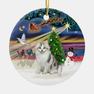 Magia de Navidad - gato blanco grisáceo del Adorno Redondo De Cerámica