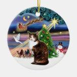 Magia de Navidad - gato de calicó (CENIZA) Adornos De Navidad