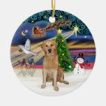 Magia de Navidad - golden retriever (k) Ornamento De Navidad