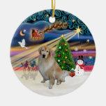 Magia de Navidad - golden retriever ligero 10 Ornaments Para Arbol De Navidad