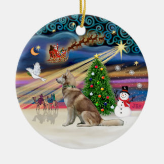 Magia de Navidad - husky siberiano rojo Adorno Navideño Redondo De Cerámica