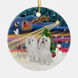 Magia de Navidad - maltesa (DOS) Adornos
