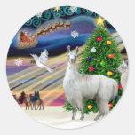Magia de Navidad - mamá Llama y bebé Pegatinas Redondas