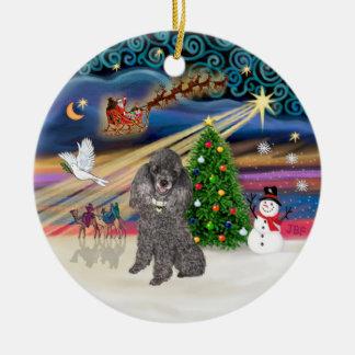 Magia de Navidad - Min de plata Poodle Ornatos